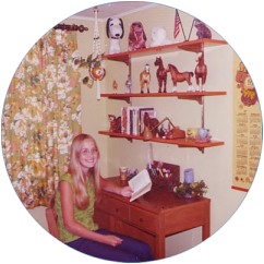 Nancy Loewen as child, in room